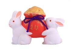Conejo de la porcelana dos Imágenes de archivo libres de regalías