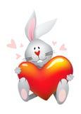 Conejo de la tarjeta del día de San Valentín Fotos de archivo