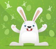 Conejo de Pascua con el fondo verde Foto de archivo libre de regalías