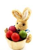Conejo de Pascua con la cesta de huevos de Pascua Foto de archivo