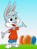 Conejo de pascua de la historieta con el fondo del huevo stock de ilustración