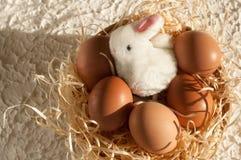 Conejo de Pascua dentro de un tamiz por completo de los huevos de Pascua en la madera rústica Fotografía de archivo libre de regalías