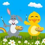 Conejo de Pascua y Chick Painters y arco iris stock de ilustración