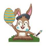 Conejo del artista con el huevo de Pascua stock de ilustración