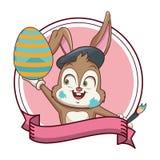 Conejo del artista con el huevo de Pascua ilustración del vector
