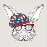Conejo del drenaje de la mano en un sombrero de los E.E.U.U. Ilustración del vector Fotografía de archivo libre de regalías