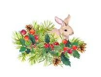 Conejo del invierno, flores, árbol de pino, muérdago Acuarela de la Navidad para la tarjeta de felicitación con el animal lindo Foto de archivo