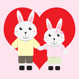Conejo del muchacho y de la muchacha stock de ilustración