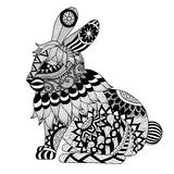 Conejo del zentangle del dibujo para la página, el efecto del diseño de la camisa, el logotipo, el tatuaje y la decoración que co Imagen de archivo libre de regalías