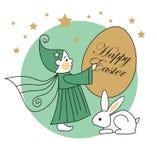 Conejo, duende, huevo de Pascua Foto de archivo libre de regalías