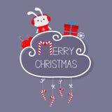 Conejo en auriculares, giftbox, copo de nieve, bola Tarjeta de la Feliz Navidad bastón de caramelo colgante Línea de la rociada c Imagen de archivo