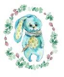 Conejo en c?rculo de la flor Ejemplo del dibujo de la mano de la acuarela ilustración del vector