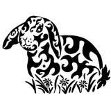 Conejo en flores ilustración del vector