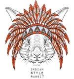 Conejo en la cucaracha india Tocado indio de la pluma del águila Fotografía de archivo