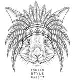 Conejo en la cucaracha india Tocado indio de la pluma del águila Tienda extrema del deporte Imagen de archivo