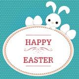Conejo en la tarjeta de pascua Imagen de archivo