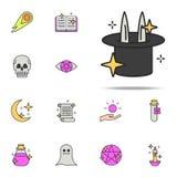 conejo en un icono del sombrero sistema universal de los iconos mágicos para la web y el móvil stock de ilustración