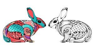 Conejo estilizado del enredo del zen ilustración del vector
