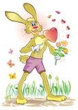 Conejo feliz adentro en amor con el golpeo del corazón ilustración del vector