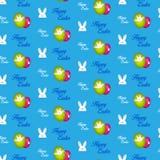 Conejo feliz Bunny Blue Seamless Background de Pascua ilustración del vector