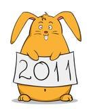 Conejo gordo de la historieta divertida con el cartel del Año Nuevo Imagenes de archivo