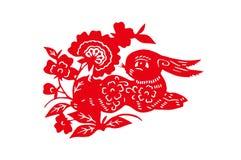 Conejo hecho a mano chino del papel del corte del rojo Imagenes de archivo