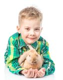 Conejo joven del abarcamiento del muchacho Aislado en el fondo blanco Imágenes de archivo libres de regalías