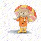 Conejo lindo debajo del paraguas Ejemplo de las liebres del marrón de la historieta stock de ilustración
