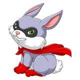 Conejo lindo del super héroe stock de ilustración