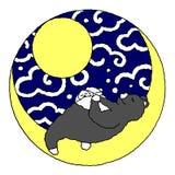 Conejo lindo y oso que duermen en la luna, diseño de los pares del ejemplo del vector stock de ilustración