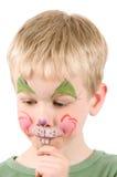 Conejo pintado cara Imágenes de archivo libres de regalías
