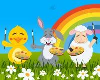 Conejo, polluelo, pintores del cordero en un prado ilustración del vector