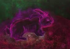 Conejo rosado psicodélico con el fondo verde y rojo ilustración del vector