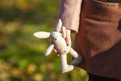 Conejo suave del juguete en las manos del walkink de la muchacha en parque de la caída Fotografía de archivo