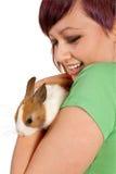 Conejo y adolescente Imagen de archivo libre de regalías