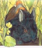 Conejo y bruja stock de ilustración