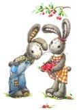 Conejo y cereza lindos Conejito de la acuarela libre illustration
