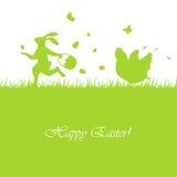 Conejo y gallina de Pascua Imagen de archivo libre de regalías