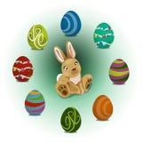 Conejo y huevos de Pascua Imagen de archivo