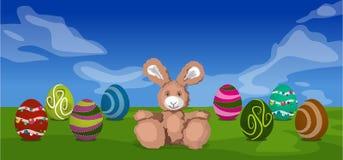 Conejo y huevos de Pascua Foto de archivo libre de regalías