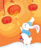 Conejo y linternas blancos del chino Stock de ilustración