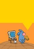 Conejo y PC Imagen de archivo