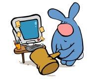 Conejo y PC enojados Fotos de archivo libres de regalías