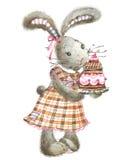 Conejo y torta lindos Conejito de la acuarela