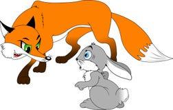 Conejo y zorro Imagen de archivo