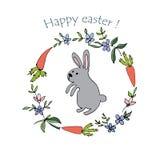 Conejo, zanahoria y flores imagen de archivo