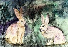 Conejos apocalípticos en un fondo azulado de la turquesa E ilustración del vector