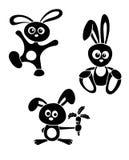Conejos blancos y negros Imágenes de archivo libres de regalías