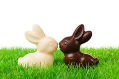 Conejos blancos y negros de pascua Foto de archivo libre de regalías