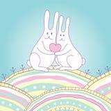 Conejos con el corazón Imagenes de archivo
